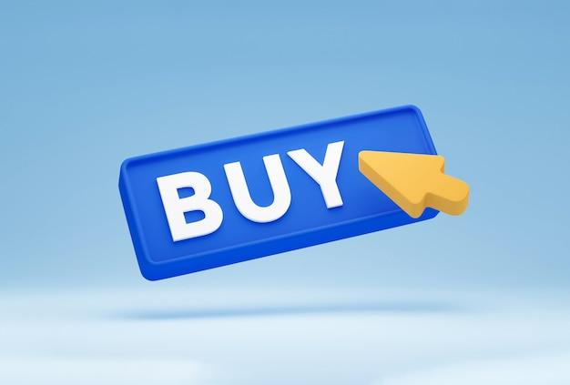 Pulsante acquista 3d con il simbolo del clic del mouse isolato su sfondo blu pastello. concetto di shopping su internet in stile minimal moderno. rendering 3d