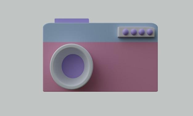 Icona della fotocamera 3d con sfondo bianco in stile semplice