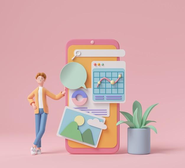 Personaggio dei cartoni animati 3d e sviluppo di applicazioni per telefoni cellulari e concetto di social media