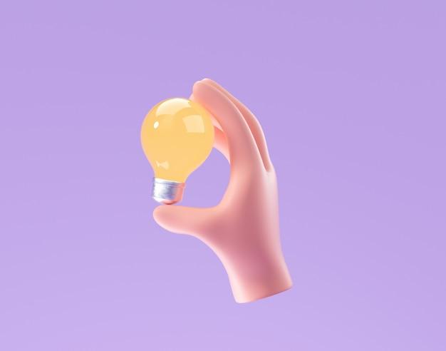 3d cartoon mano che tiene la lampadina su sfondo viola. pensiero, buona idea e concetto creativo di successo aziendale. 3d render illustrazione