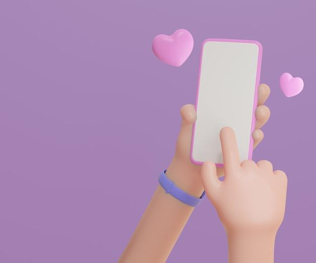 3d cartoon mani che tengono smartphone su sfondo viola con cuore rosa. rendering 3d dell'illustrazione.