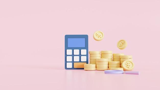 Design in stile cartone animato 3d. monete, calcolatrice e icona. investimenti aziendali, risparmio di denaro, gestione del budget e concetto di profitto finanziario. illustrazione di rendering 3d