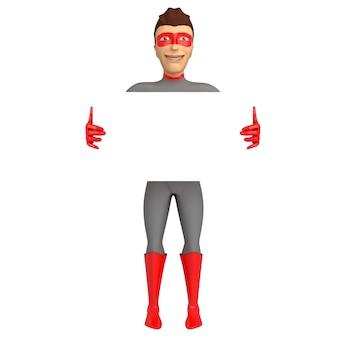 Personaggio 3d nel costume di un supereroe su uno sfondo bianco, con in mano un cartello per posizionare l'iscrizione. illustrazione 3d