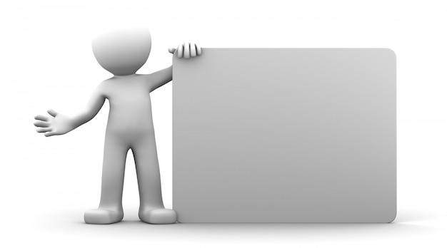 Personaggio 3d in possesso di un cartellone bianco