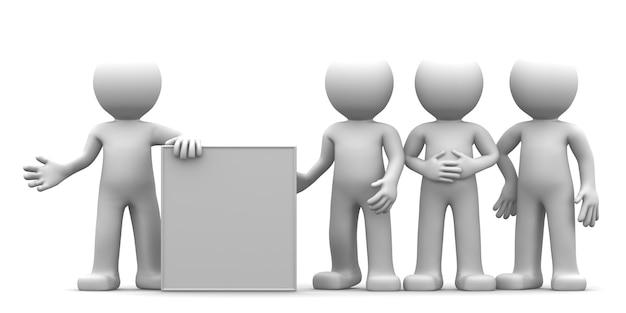 Personaggio 3d che mostra banner bianco per il gruppo di persone
