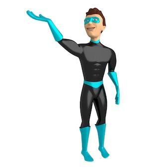 Personaggio 3d in un costume da supereroe su uno sfondo bianco, con una mano alzata. illustrazione 3d