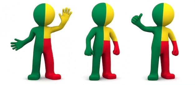 Personaggio 3d con texture con bandiera del benin