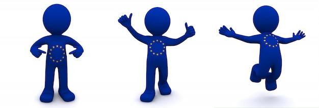 Personaggio 3d con texture con bandiera dell'unione europea