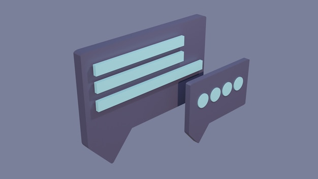 Icone di chat 3d aquilone su sfondo blu