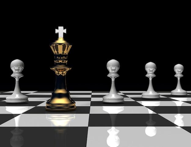 Re e pegno di scacchi 3d concetto di leader