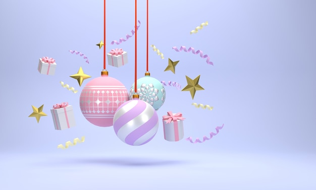 3d. palle di natale, scatole regalo, nastri, addobbi natalizi. sullo sfondo rosso.