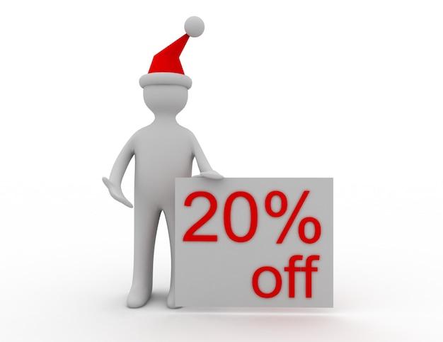 Concetto di vendita di natale 3d 20% di sconto