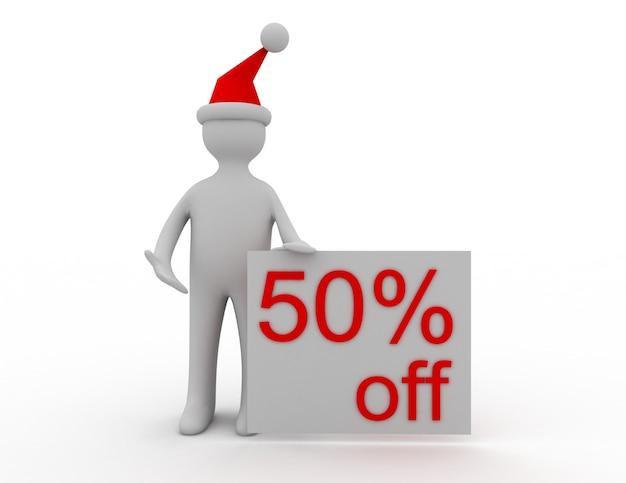 Concetto di vendita di natale 3d 50% di sconto