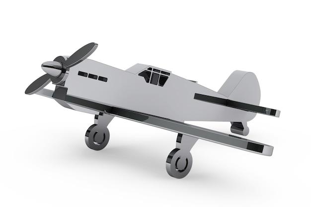 Aeroplano giocattolo cromato 3d su sfondo bianco