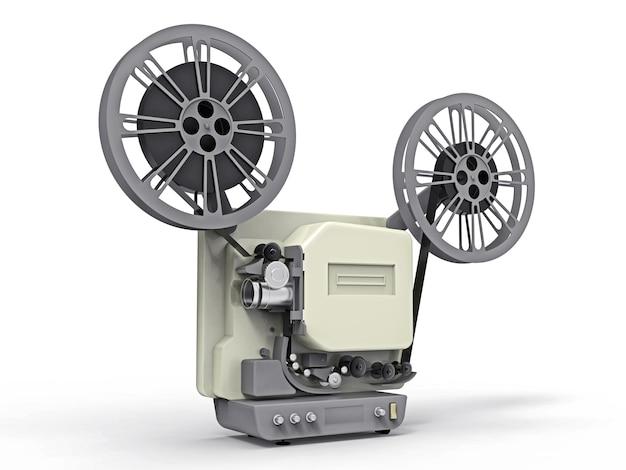 Proiettore cinematografico 3d isolato su priorità bassa bianca. rendering 3d.