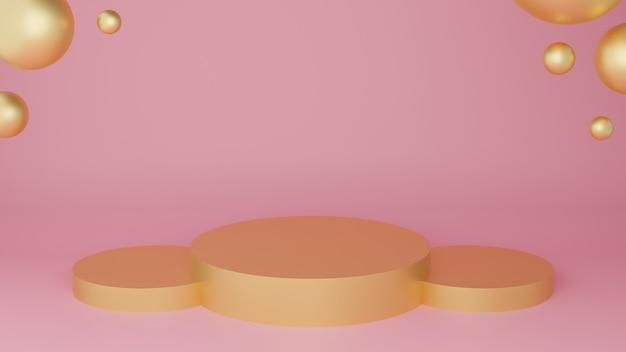 Podio del cerchio 3d in colore oro con sfere d'oro e stanza pastello rosa