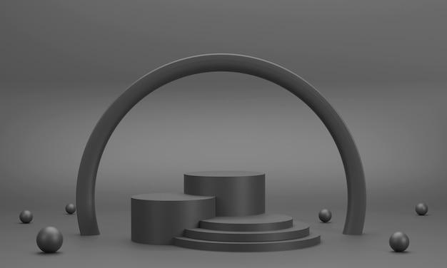 3d. podio circolare, anello tondo nero per l'esposizione di prodotti con palla composita