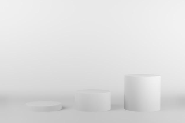 Colore bianco del podio 3d del cerchio con tre ranghi. vetrina per banner del marchio del prodotto e prodotti cosmetici. presentazione del prodotto minima.