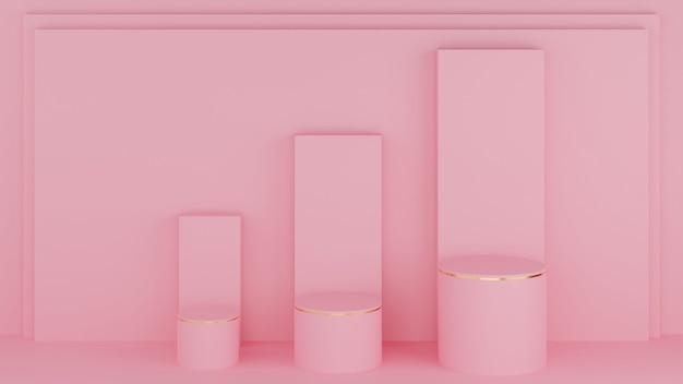 Podi a cerchio 3d in colore rosa pastello e bordo dorato con tre barre grafiche