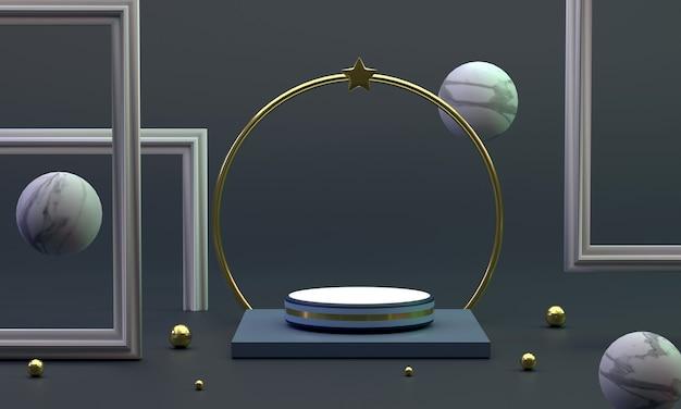 3d un podio circolare vicino a un anello con una palla di marmo con cornice per foto di stelle in studio offre un lusso