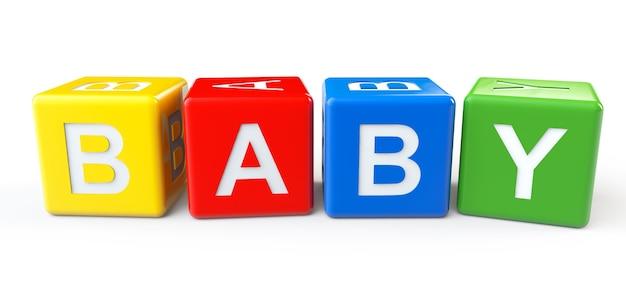 Blocchi colorati 3d con segno bambino su sfondo bianco