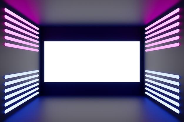 Illustrazione variopinta 3d della sala da concerto del teatro con luce al neon.