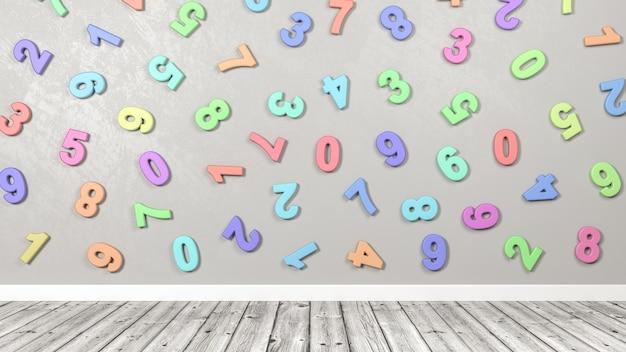 Numeri colorati 3d contro il muro in una stanza con pavimento in legno