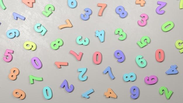 Numeri colorati 3d sul muro