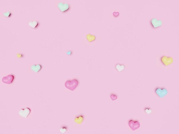 Cuori pastello colorati 3d sulla superficie rosa