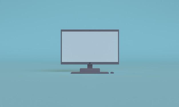 3d computer blu colore design in stile minimalista, scena podio mock up presentazione, rendering 3d sfondo astratto.