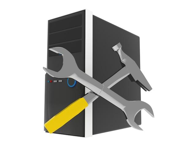 Concetto di riparazione del computer 3d. illustrazione resa su bianco