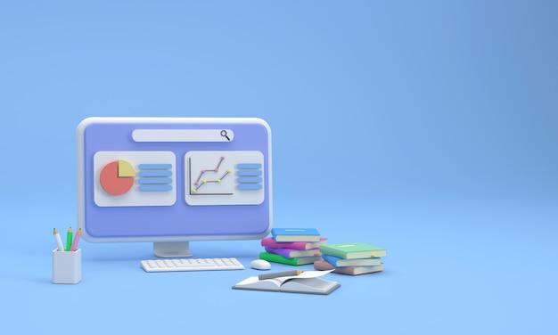 Schermo del computer 3d che mostra grafici finanziari e di marketing con pile di libri, libri e matite