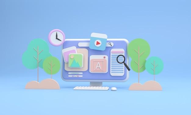Schermo del computer 3d che mostra le icone sulle immagini dell'albero del turismo come sfondo ti dà la sensazione