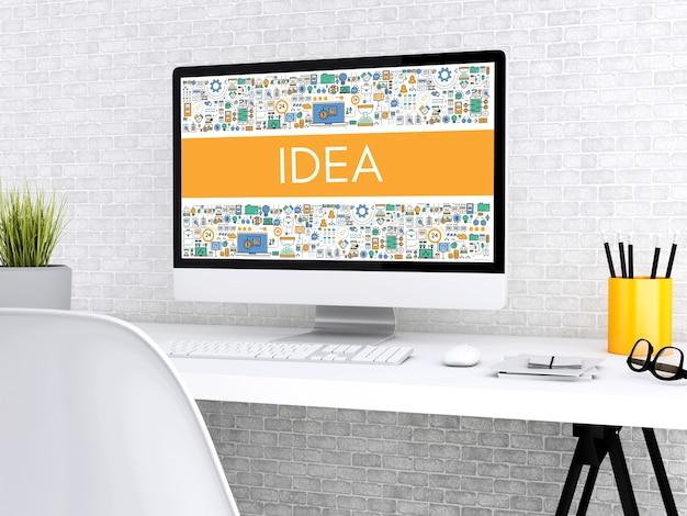 Computer 3d con la parola idea.
