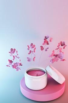 Barattolo di cosmetici 3d, prodotto cosmetico di bellezza per la cura del viso su sfondo sfumato blu rosa con fiori primaverili, design della confezione di crema per il viso.