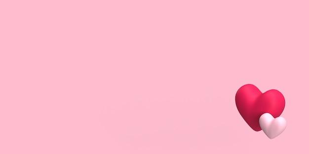 Coppia 3d di cuore per sfondo rosa romanticismo o matrimonio reso