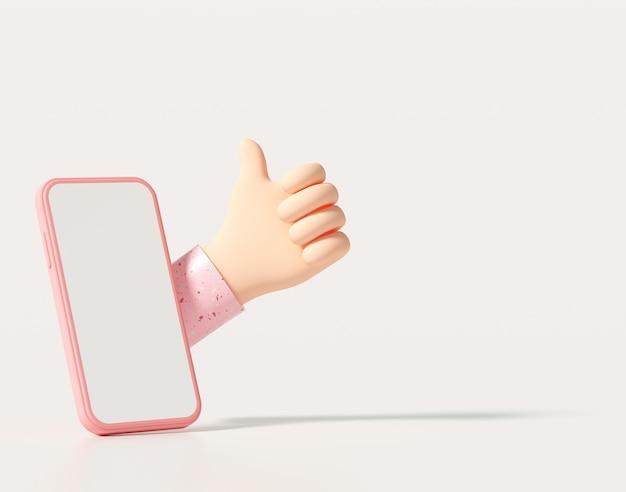Pollice in alto creativo 3d, piace, amore sui social media tramite smartphone. 3d rendering illustrazione