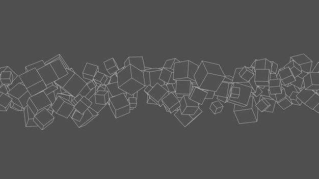 Cubi 3d. effetto disegno schizzo. sfondo grigio. illustrazione astratta.