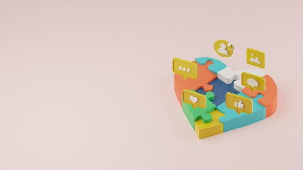 Fedeltà del cliente 3d e consapevolezza del marchio nel concetto di social media con puzzle del cuore.