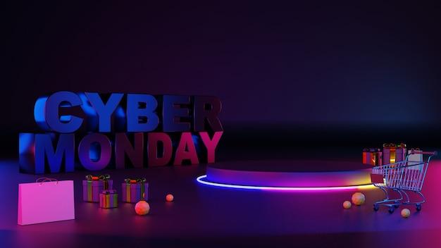 Podio di incandescenza della luce al neon di lunedì cyber 3d.