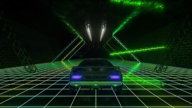 Stile retrò cyberpunk 3d. synthwave. l'auto sta guidando nel tunnel al neon. illustrazione 3d