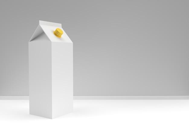 Concetto di design 3d di scatola di latte e succo di mockup, spazio di copia per testo e logo. tracciato di ritaglio incluso su sfondo bianco.