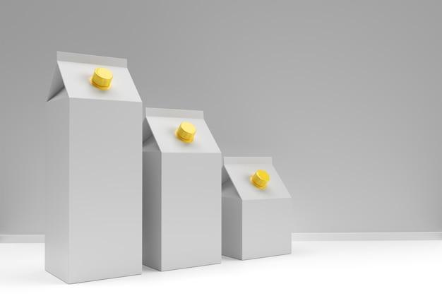 Concetto di design 3d di scatola di latte e succo di mockup.