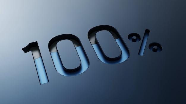 3d design metallico del simbolo del cento per cento
