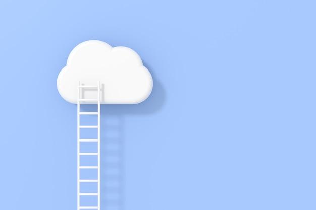 Design 3d con scale che portano a una camicetta bianca su sfondo azzurro