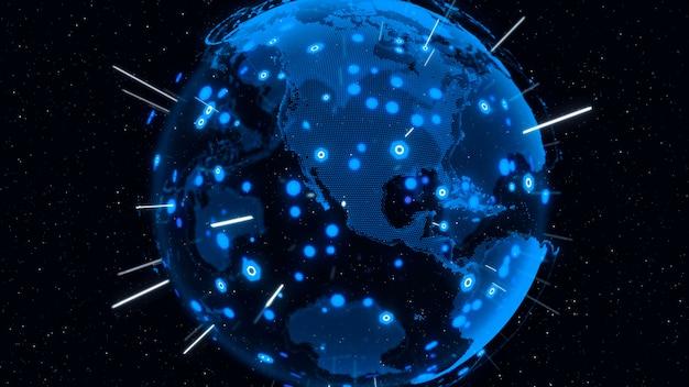 3d digital earth mostra il concetto di rete globale