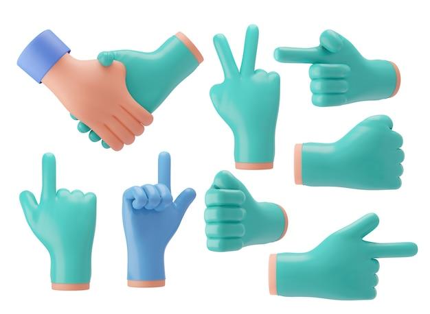 La mano del medico 3d che indossa guanti di gomma blu-verde mostra vari gesti per presentazioni, pubblicità. rendering dell'illustrazione 3d.