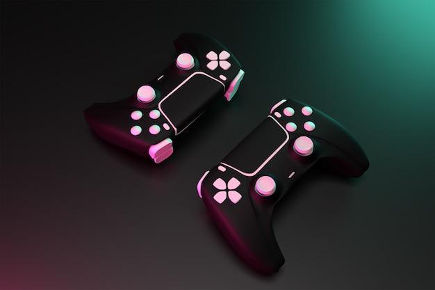 Controller di gioco a doppio joystick 3d con concetto di superficie scura reso alto