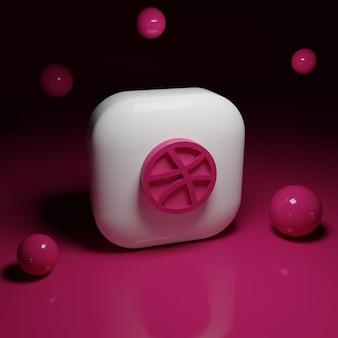 Applicazione logo dribbble 3d