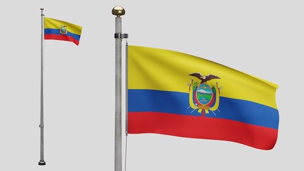 3d, bandiera ecuadoriana che ondeggia sul vento. primo piano dell'ecuador che soffia banner, seta morbida e liscia. fondo del guardiamarina di struttura del tessuto del panno.